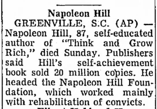 مرگ ناپلئون هیل